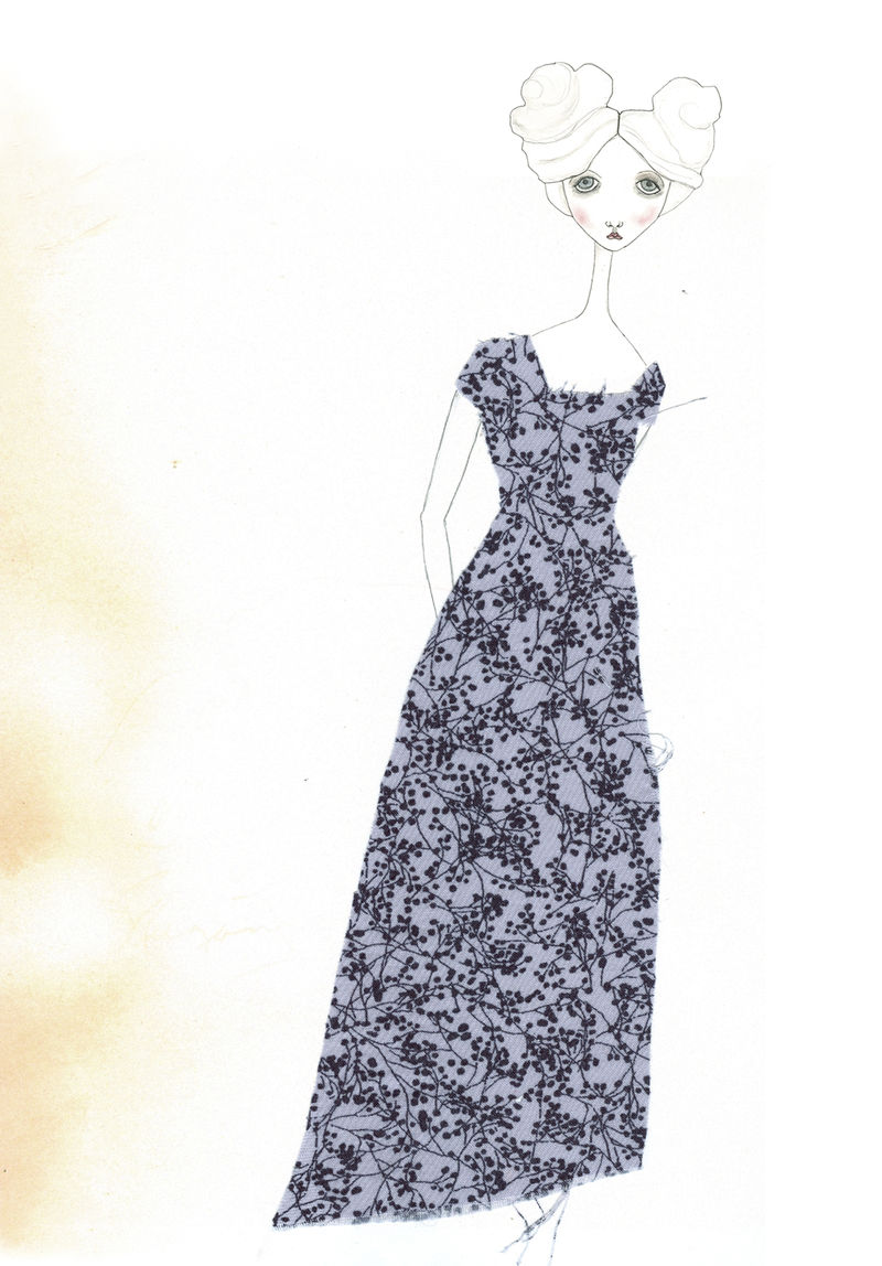 Babette paper doll w: blue dress
