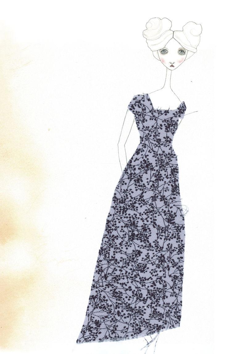 Babette paper doll w: blue dress